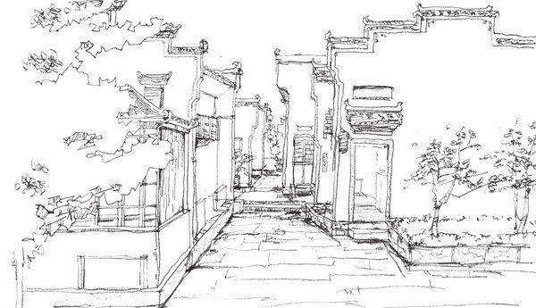 速写徽派建筑的绘画教程(7)