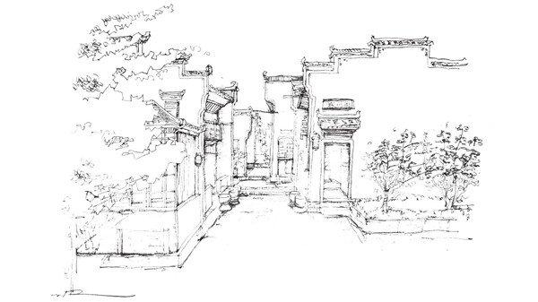 速写徽派建筑的绘制步骤十八