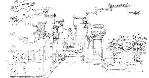 速写徽派建筑的绘画教程(8)