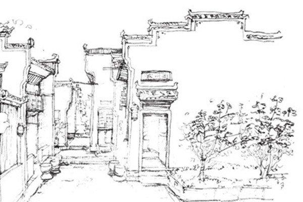 速写徽派建筑的绘画教程