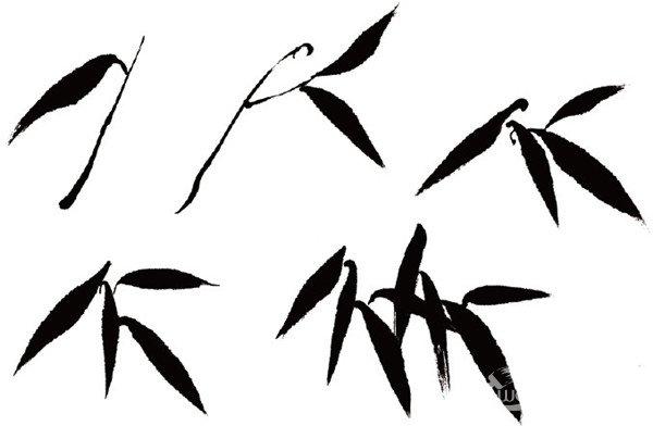 """每组竹叶都是由单片竹叶组成,单片竹叶在不同的透视情况下表现出来的形态各不相同,有正、侧、仰、俯等各种形态,用笔则有起笔、行笔、收笔之分,竹叶有""""人""""字形、""""个""""字形、""""介""""'字形、""""分""""字形,这些形状是画竹叶的最基本形。"""