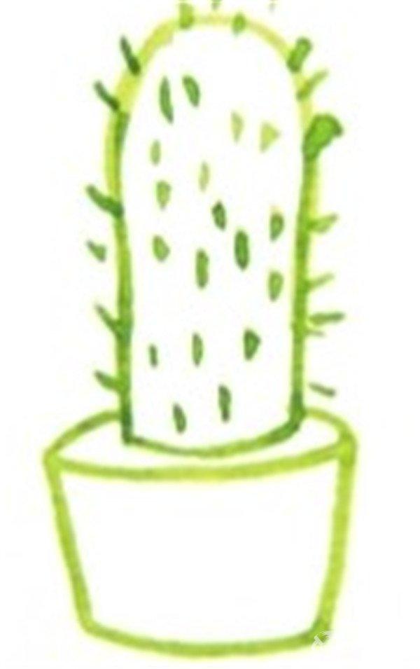 仙人掌的短毛刺的绘画步骤四-水彩勾线笔绘画技法 4