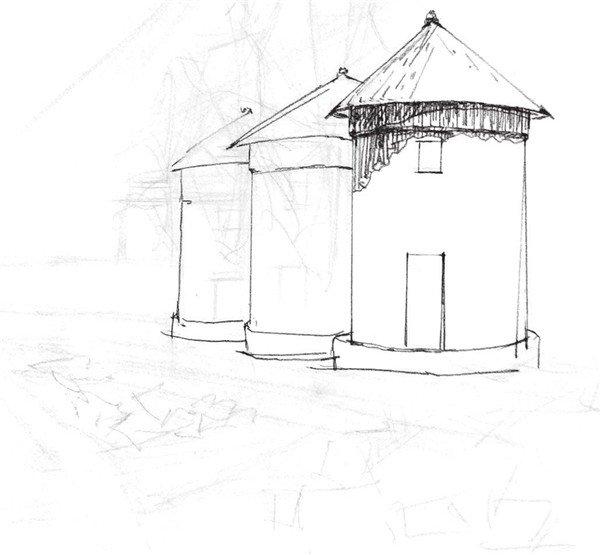 6,画出小房子的房体部分,注意砖石砌成的纹理质感,再添加窗户和门