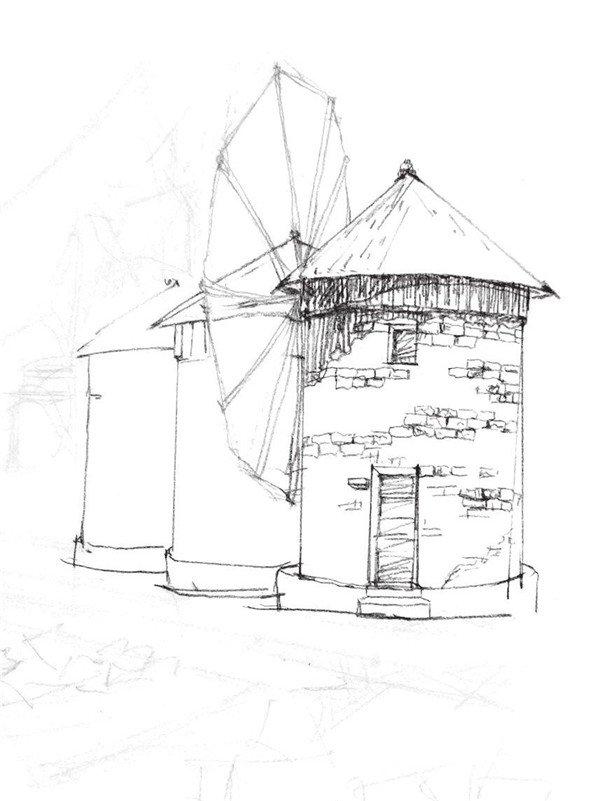 速写风车的绘制步骤六