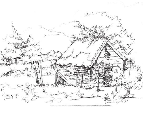 太原唐晋画室 速写森林木屋的绘画步骤