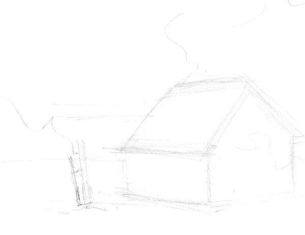 1、用虚线勾勒小木屋的大致轮廓线条。  速写森林木屋的绘制步骤一 2、首先刻画出近景处的梯子,注意梯子的刻画线条和阴影的表现。  速写森林木屋的绘制步骤二 3、小木梯刻画要细致,它的位置至关重要,后面的物体都要以它为基准。  速写森林木屋的绘制步骤三