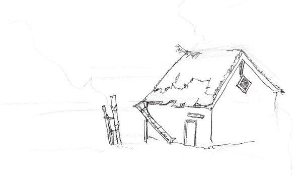 速写森林木屋的绘画步骤(3)