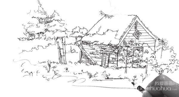 10、这一步中,要强调的是重点去刻画小木屋的屋顶部分。  速写森林木屋的绘制步骤十 11、继续添加画面景物,将树、房子、草的造型清晰化,注意体积感的表现。  速写森林木屋的绘制步骤十一 12、刻画出画面景物的细节,并强调阴影的表现,加强画面的空间感。  速写森林木屋的绘制步骤十二