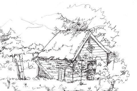 速写森林木屋的绘画步骤