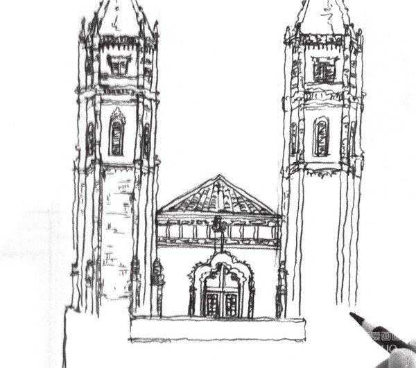 速写哥特式古堡的绘制步骤八 9,画出画面的景物,注意画面的透视关系