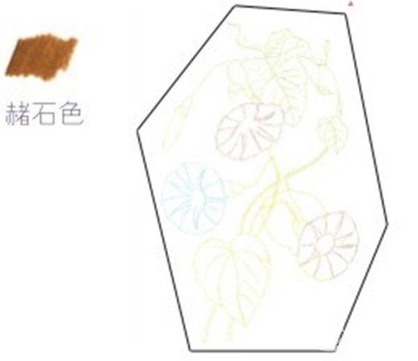 1、牵牛花的线稿绘制 (1)用柠檬黄色的铅笔在纸上绘制出牵牛花其中一朵花朵的大致轮廓和附近的叶子。  牵牛花的线稿绘制一 (2)接着用天蓝色和浅绿色的铅笔再画出牵牛花第二朵花朵和附近的藤叶,注意叶子外形要准确。  牵牛花的线稿绘制二 (3) 最后用赭石色