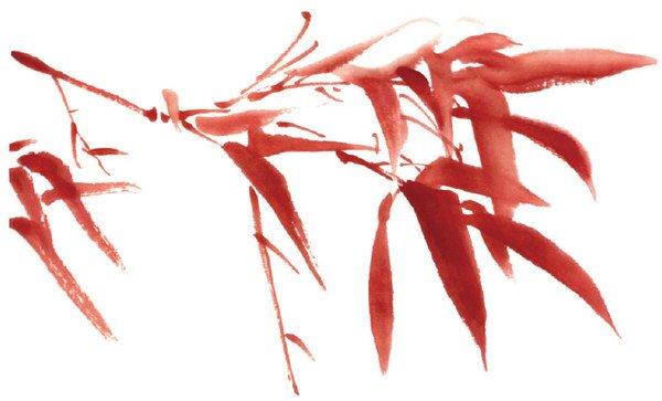 用红色画竹子,是 水墨画的一种创意.