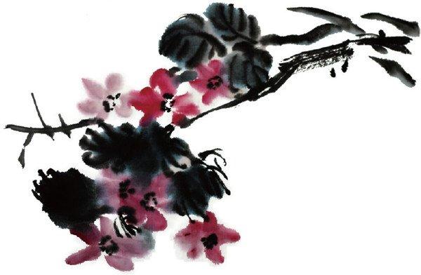 水墨紫薇花的绘画步骤(3)