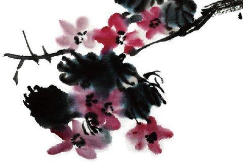 水墨紫薇花的绘画步骤