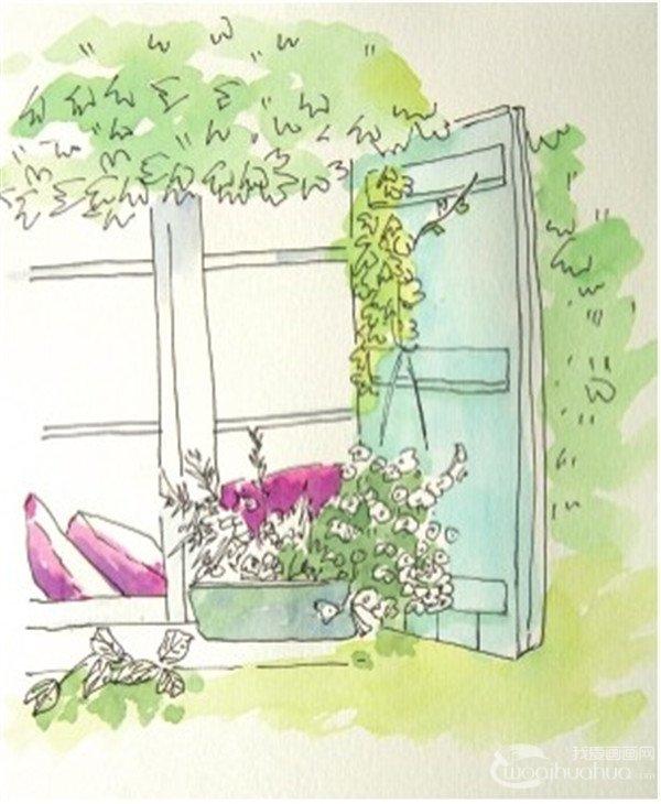 1,用防水的勾线笔画一个窗台前的风景图.