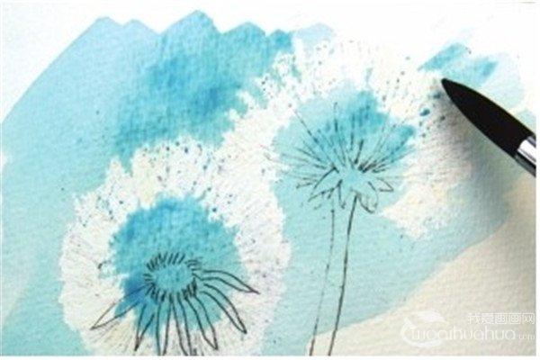 水彩画技法 > 水彩与画笔的搭配技法(3)      2,用橡皮轻轻擦掉蒲公英