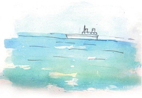 水彩技法四:用麻绳滚出大海步骤  1,先用铅笔画出简单的海面,为了使
