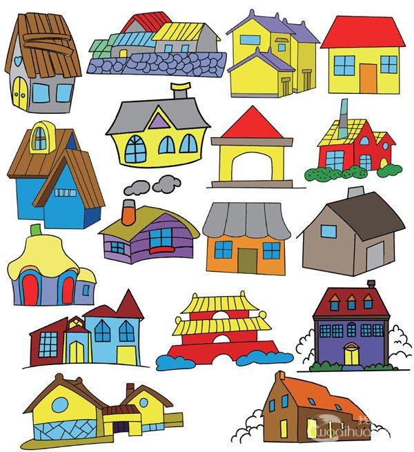 房屋简笔画图片彩色