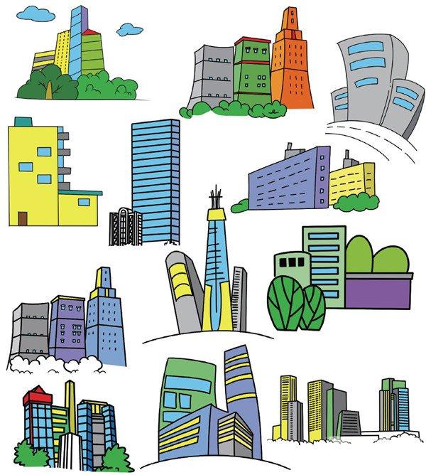 未来的楼房简笔画图片大全_未来的楼房简笔画图片
