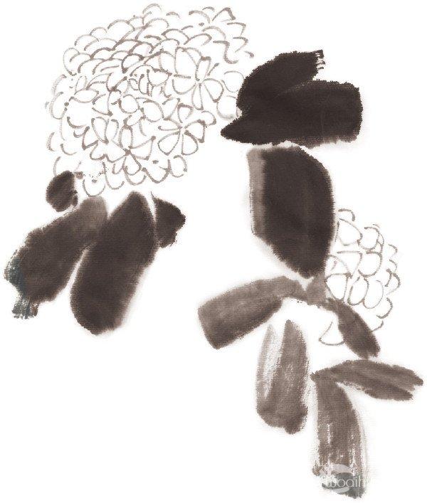 水墨绣球花的绘画步骤二