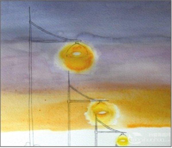 水彩透视法傍晚的街灯绘画步骤(3)_水彩画教程_学画画