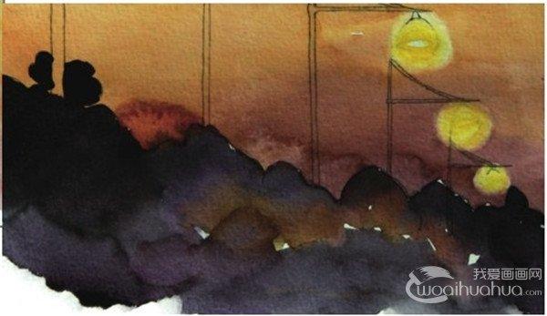 水彩透视法傍晚的街灯绘画步骤(4)_水彩画教程_学画画
