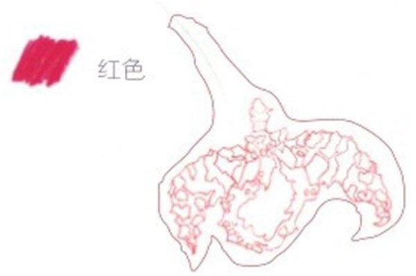1、墨兰的线稿绘制 (1)用红色的铅笔勾画出墨兰花蕊的大体轮廓。  墨兰的线稿绘制一 (2)用红色的铅笔在花蕊上面勾画出墨兰的一片花瓣。  墨兰的线稿绘制二 (3)继续用红色的铅笔将墨兰剩下的花瓣勾画完整。  墨兰的线稿绘制三
