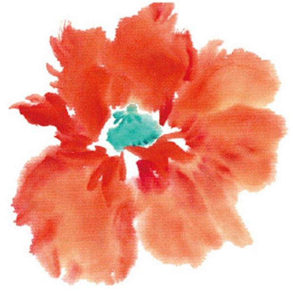 水墨虞美人的绘画步骤    1,用笔尖点朱磦,曙红,点花瓣,用石绿点