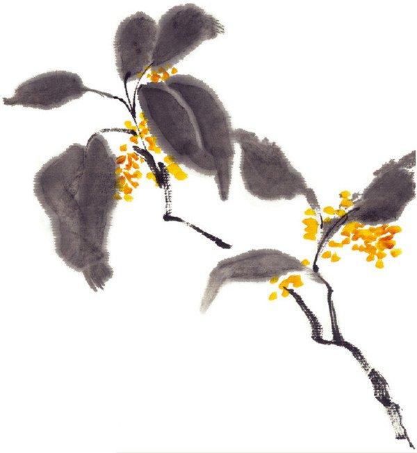 水墨桂花的绘画步骤二-水墨桂花的绘画技法 2