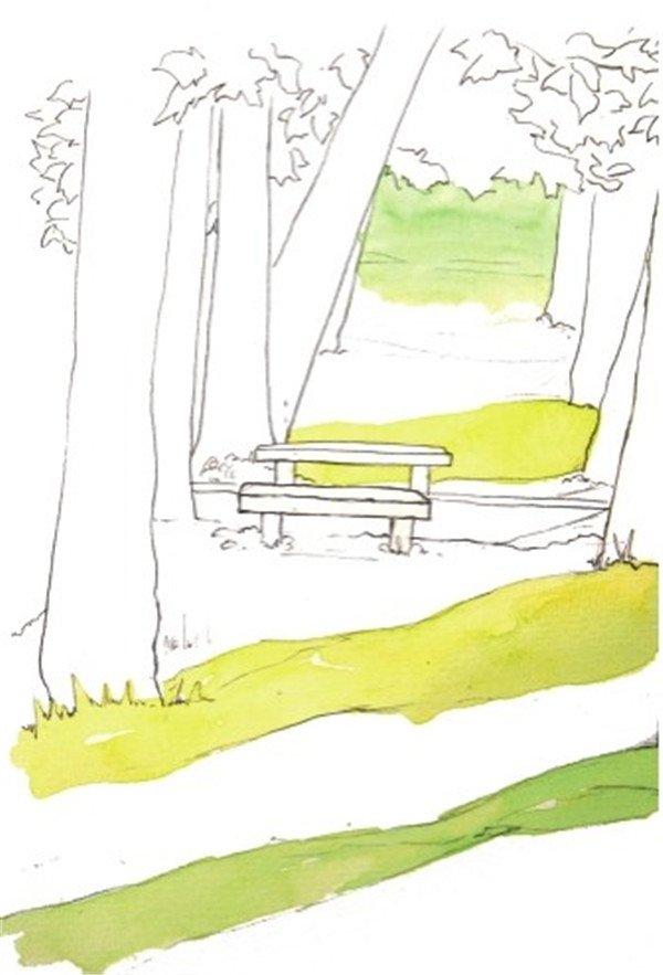 水彩投影示例夏日公园绘画步骤二