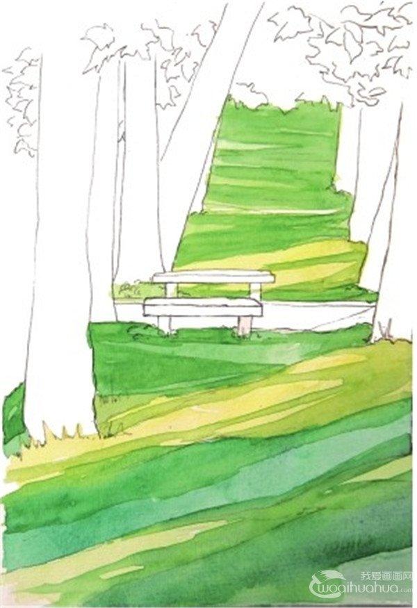 学画画 水彩画教程 水彩风景画 > 水彩投影示例夏日公园的绘画技法(2)