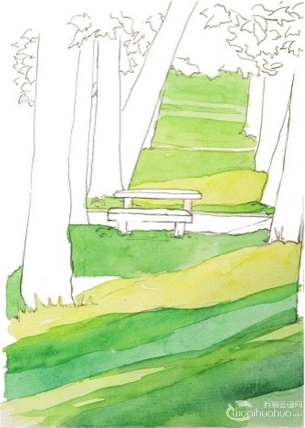 1,先勾勒出兩排樹木的線條,注意近大遠小的原則,然後再勾出樹影