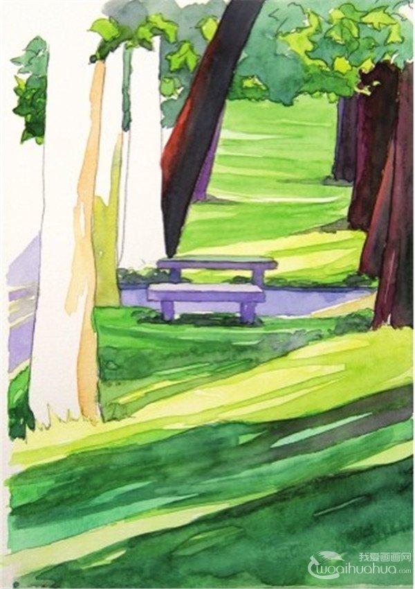 先勾勒出兩排樹木的線條,注意近大遠小的原則,然後再勾出樹影的