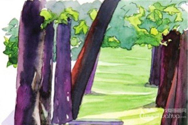 水彩投影示例夏日公园的绘画技法