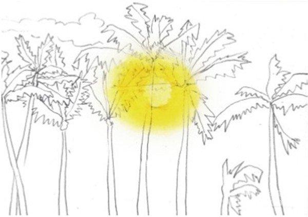 1、用铅笔轻轻画出海岸的轮廓,然后再画出一排棕榈树,树的排列要有高低变化,会显得更加自然生动。  水彩剪影法夕阳下的棕榈树的绘制步骤一 2、先从最浅的太阳的颜色开始画起,用柠檬黄加上中黄色调出金黄色,然后绕着太阳的周围画一个圈。  水彩剪影法夕阳下的棕榈树的绘制步骤二 3、在前一个颜色的基础上加上一点橙色,继续在上一个圈的基础上画一圈颜色。  水彩剪影法夕阳下的棕榈树的绘制步骤三 使两个颜色衔接得更加自然的方法就是在上两个颜色间留出一点空白,然后将笔洗干净从一个颜色晕染到另一个颜色。  水彩剪影法夕阳下的