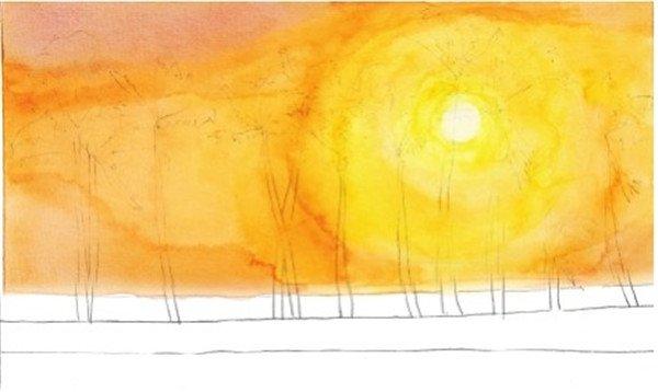 4、继续用橙色加上中黄色画出天空的颜色,但天空左边的颜色要偏红一点,所以在颜料里加一点胭脂红色使天空的颜色有更多的变换。  水彩剪影法夕阳下的棕榈树的绘制步骤四 5、画海水的颜色,先用柠檬黄色画出海水上浅色的部分,然后再加上一点橙色和普蓝色,慢慢加深颜色,画海水中深色的部分。  水彩剪影法夕阳下的棕榈树的绘制步骤五 这个是使画面更加有光感的关键,在画面中靠近太阳的地方用浅橙灰色,与周围的黑色形成对比,就形成了这种画面的光感。  水彩剪影法夕阳下的棕榈树的绘制步骤五-1 6、最后用青莲色加上黑色调出近乎黑色