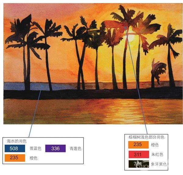 水彩剪影法夕阳下的棕榈树绘画步骤