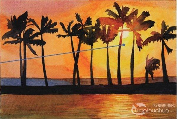 学画画 水彩画教程 水彩风景画 > 水彩剪影法夕阳下的棕榈树绘画步骤