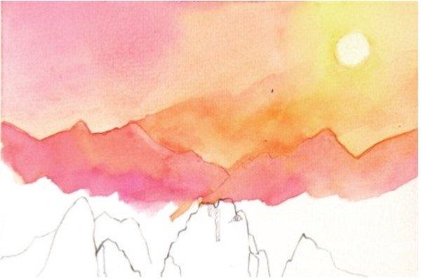 1,用铅笔勾出几座山的轮廓,简单地区分山体亮部和暗部.图片