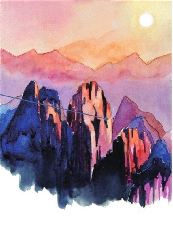水彩日出的山顶绘画教程(3)