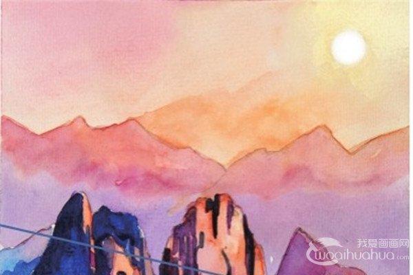 水彩日出的山顶绘画教程
