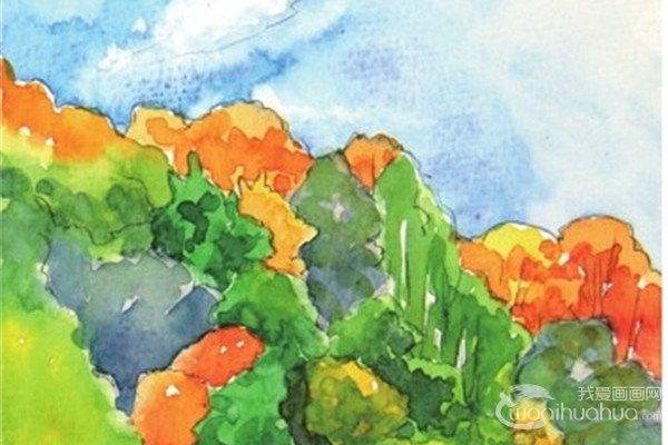 水彩倒影法微风吹拂的湖面绘画步骤