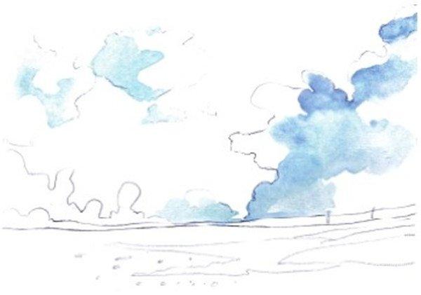 水彩天空蓝天白云的绘画教程(2)