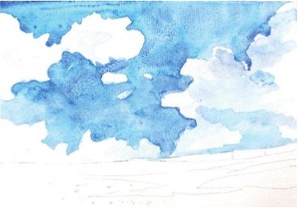 水彩天空蓝天白云的绘画教程(3)