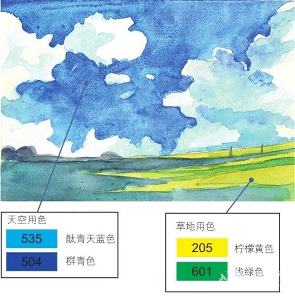 水彩天空蓝天白云的绘画教程