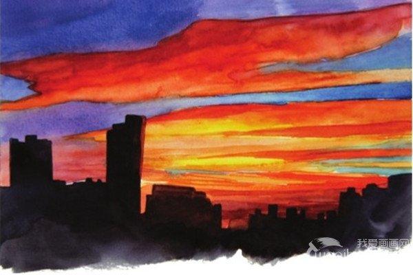 水彩黄昏的彩霞绘画技法