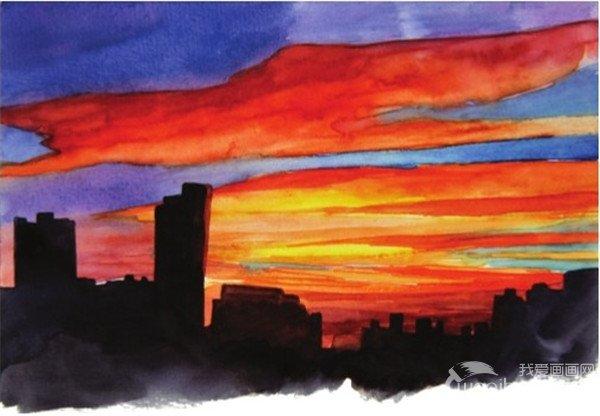 水彩黄昏的彩霞绘画步骤八