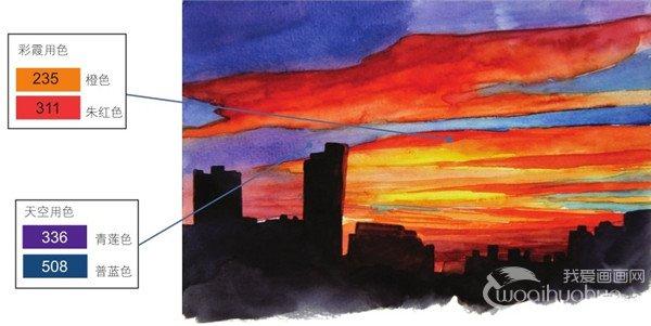 学画画 水彩画教程 水彩风景画 > 水彩黄昏的彩霞绘画技法      晚霞