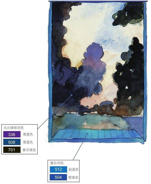 水彩窗外乌云密布绘画步骤    1,先画一个窗户的轮廓,然后再勾勒