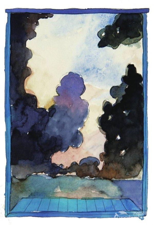 水彩窗外乌云密布绘画 步骤七 暴雨天,整个云彩都是乌沉沉密密麻麻的